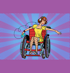 Modern joyful teen girl disabled in a wheelchair vector