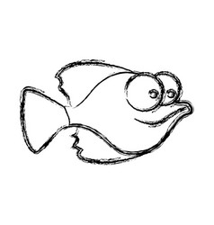 Monochrome sketch of small fish with big eyes vector