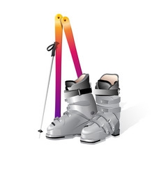 mountain ski boot isolated on white background vector image
