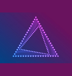 neon led lights abstract triangle frame background vector image