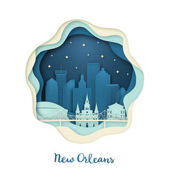 Paper art of new orlean origami concept night vector