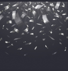 paper confetti falling serpentine on transparent vector image