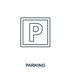 parking icon outline thin line style from airport vector image