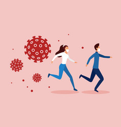 People run away from aggressive danger coronavirus vector