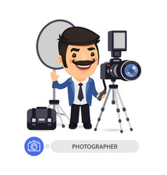 photographer cartoon character with tools vector image