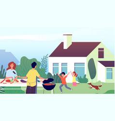 picnic time garden bbq party family backyard vector image