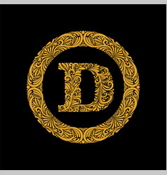 premium elegant capital letter d in a round frame vector image