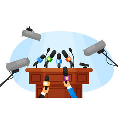 press conference isolated empty tribune vector image