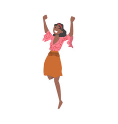 pretty african american woman character girl vector image
