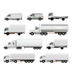 Realistic cargo vehicles set vector