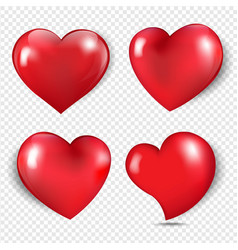 red hearts isolated transparent background vector image