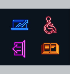 Sales diagram sign out and disabled icons vector