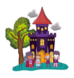 Scary castle with funny children costumed vector