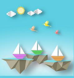 Scene with birds yacht and fly sea island vector
