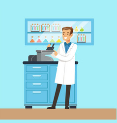 scientist male looking through microscope vector image