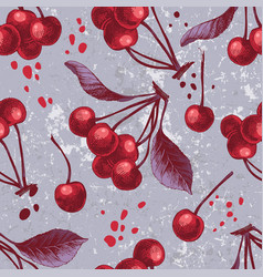 seamless pattern with hand drawn cherries vector image