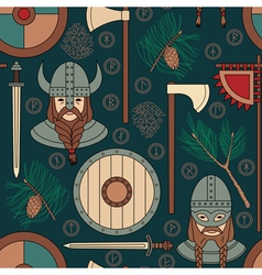 Seamless viking pattern with pine branches vector