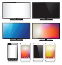 Set eight realistic mobile phone and tv flat vector