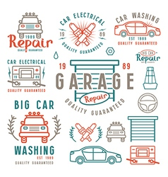 Set of car repair badges and design elements vector image