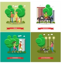 set of cartoon character posters People in vector image vector image