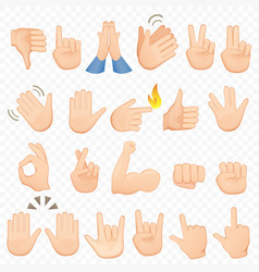 set of cartoon hands icons and symbols emoji hand vector image