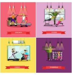 Set of workouts in the gym flat design vector