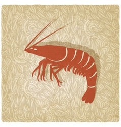 shrimp old background vector image