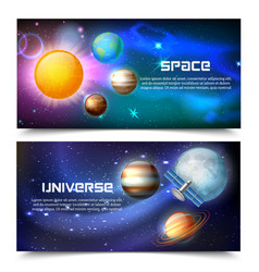 Space universe horizontal banners vector