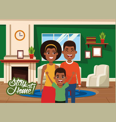 Stay at home campaign with afro parents and son vector
