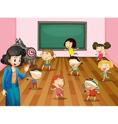 Students playing blind folded in classroom vector image