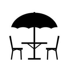 Table parasol and chairs icon vector