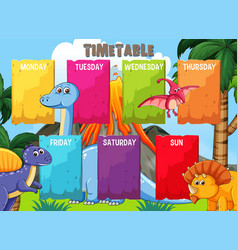 Timetable with colourful dinosaur template vector