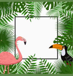 tropical poster with palm leaves flamingo toucan vector image