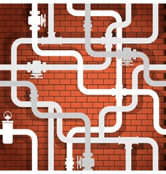 Tubes on brick wall vector image