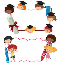 Two border templates with school boys and girls vector