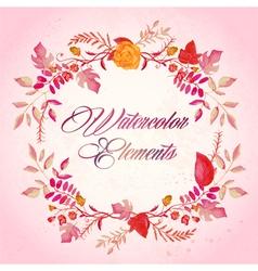 Watercolor floral elements set - vector