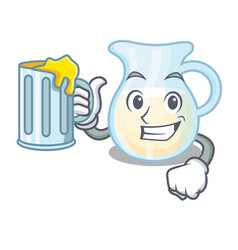 With juice milk jug completely filled with vector