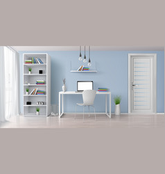 Work desk in home interior realistic vector