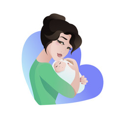 Young asian mother with baby in her hands vector