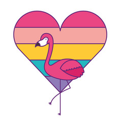 flamingo and heart love with color rainbow vector image