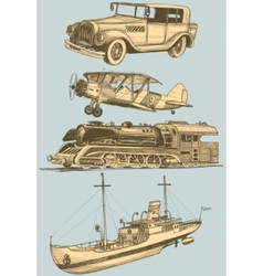 retro transport set vector image