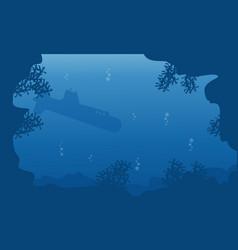 silhouette of submarine on blue sea landscape vector image