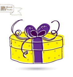 Sketch gift box with bow vector image vector image