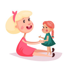 child near mother or smiling woman in skirt vector image vector image