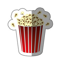 colorful sticker of popcorn container vector image vector image