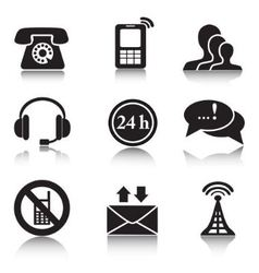 Contact black icons set vector image vector image
