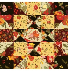 Creative seamless patchwork pattern with flowers vector