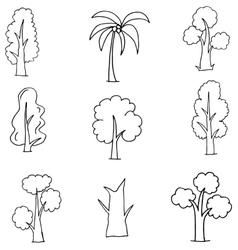 Doodle of various tree set vector image vector image