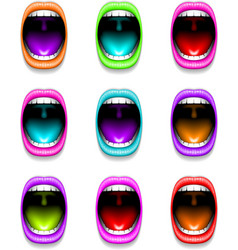 Mouth color open icon lips vector image