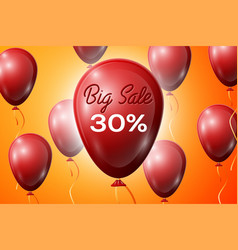 red balloons with an inscription big sale thirty vector image vector image